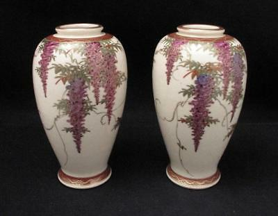 Pair Antique Japanese Satsuma Signed Koshida Hand Painted Wisteria Vases Taisho