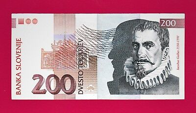 Beautiful 200 Tolarjev 1997 Banknote from Slovenia Very Collectible (AUnc)