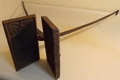 Antique 19th Century Open Hearth Waffle Iron w Unusual Grill Pattern c1800s