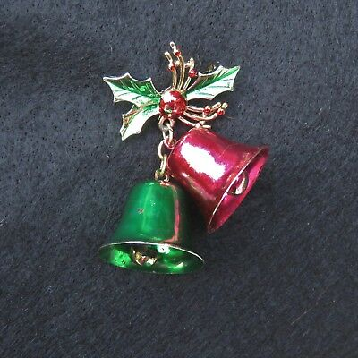 Christmas Pin - Red & Green Jiingle Bells w/clappers, vintage 1970s