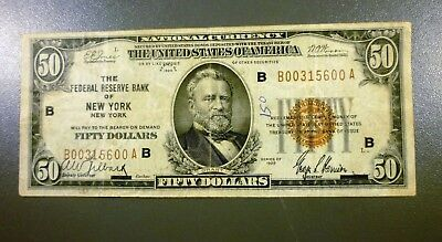 1929 US $50 National Currency Federal Reserve Bank of New York