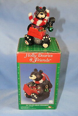 "Holly Dearies 3.5"" Black Bear Christmas Ornament, vintage Kurt Adler w/box"