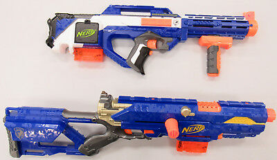 Lot of 2 Nerf Guns Working w/ Darts N-Strike Rayven CS-18 & Longstrike CS-6 USED