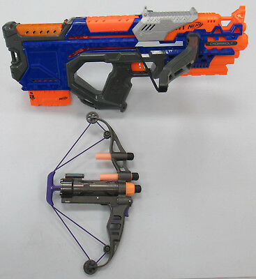 Lot of 2 Nerf Guns Working w/Darts N-Strike Crossbolt & Marvel Avengers Bow USED