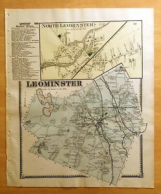 Original Antique 1870 Map LEOMINSTER MA Massachusetts BEERS HAND-COLORED