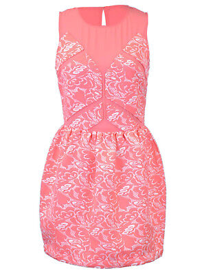 Ali-market Stunning Lady Women Mesh Jacquard Floral Print Sleeveless Tea Dress