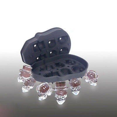 6-Head Whiskey Silicon Ice Cube Maker Mold Mould 3D Skull Halloween Party Tray
