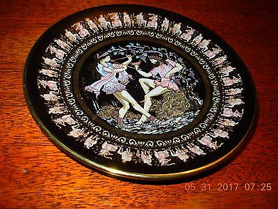 Fakiolas Greek Hand Painted 24kt Gold Trim Decorative Black Plate Wall Hanging
