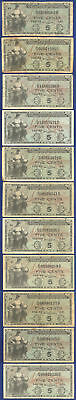 Usa Mpc Series 481 Military Payment Certificate 5¢ Lot Of 11 Notes