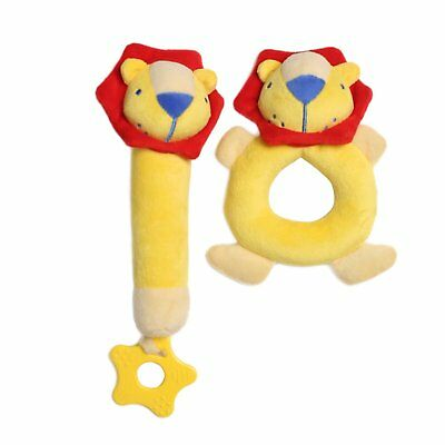 2Pcs Baby Rattle Plush Toy Lion for Kids Development Toys Gift for Boys Girls