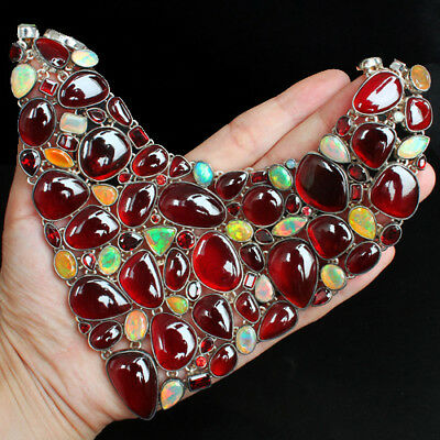 1306Ct 100% Natural Orange Garnet Spessartine Opal Silver Necklace Earring ASRE2