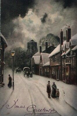 Early Christmas Postcard with Village Snow Scene, Valentine's, Used, c.1910s