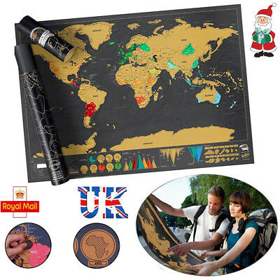 2018Scratch Off World Map Deluxe Edition Travel Log Journal Poster Wall Decor UK