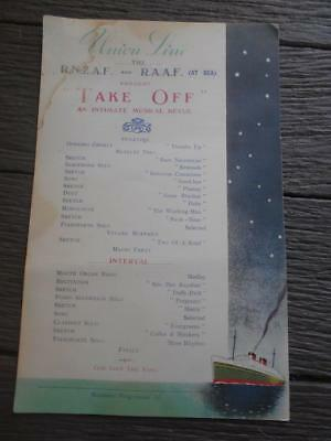 C WW2 RNZAF RAAF Union Line at Sea Take Off music revue air force programme ship
