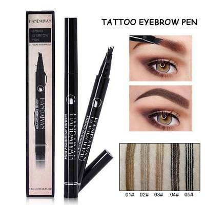 Waterproof 4 Head Fork Tip Eyebrow Tattoo Pen Microblading Makeup Ink Sketch UK