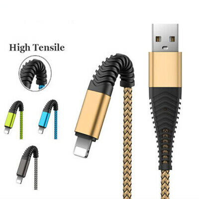 1M 2M 3M High Tensile Nylon Braided USB Cable Charger Lead For iPhone XR X 8
