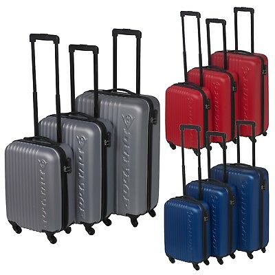 22e6d8a8d 3 Dunlop ABS 4 Wheeled Spinner Suitcase Set Hard Shell Luggage Baggage Cases