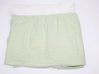 "Pottery Barn Baby Standard Crib Skirt ~ Green White Checked ~ 11"" Drop"