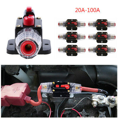 DC 12V 20-A100Amp Car Stereo Audio Circuit Breaker Inline Fuse Gauge Wire TOp