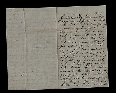 """17th Indiana Infantry CIVIL WAR LETTER  """"I have Been Very Sick"""" in Louisville KY"""