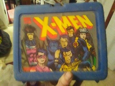 Vintage 1994 Thermos Marvel X-Men Lunch Box Plastic Blue - WITH THERMOS