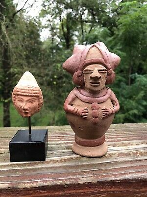 Pre Columbian Pottery TWO PIECES - HEAD ON STAND