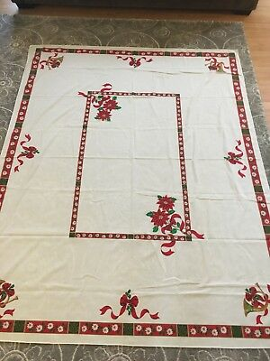 "vintage christmas table cloth 85""x67"""