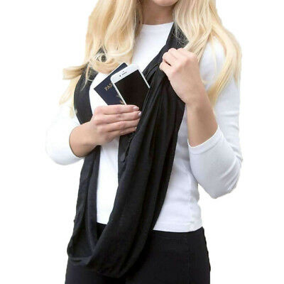 Soft Infinity Scarf With Hidden Zipper Pocket Convertible Journey Loop Wrap Cowl