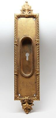 Antique Victorian Gilded Brass Pocket Door Plate