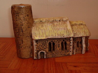 Pottery Clay Scale Model Of Hales Thatched Church With A Round Tower