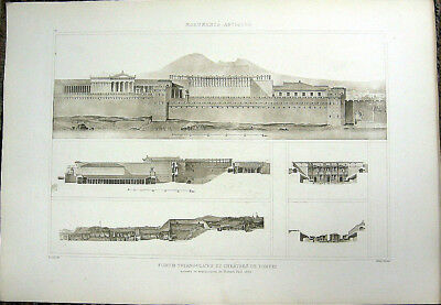 251 ~ POMPEII TRIANGULAR FORUM THEATRE TEMPLES ~ Old 1910 Architecture Art Print