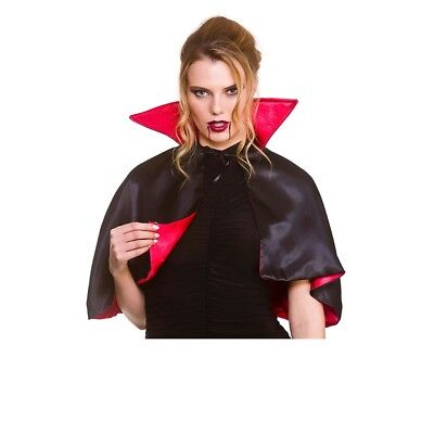 "Adults Deluxe Mini Vampire Cape - 14"" Costume Ladies Halloween Fancy Dress"