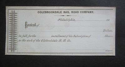 Old 1860's COLEBROOKDALE RAILROAD Co. Stock Receipt Document - Philadelphia PA.