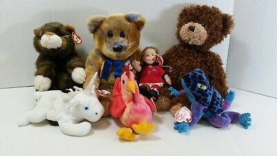 Ty Beanie Babies - Lot Of 7 Bears, Cat, Frog, Rooster, Unicorn, Soccer Player.