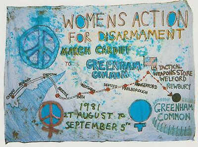 Postcard Of Original Banner Carried From Cardiff Greenham Common Aug-Sept 1981