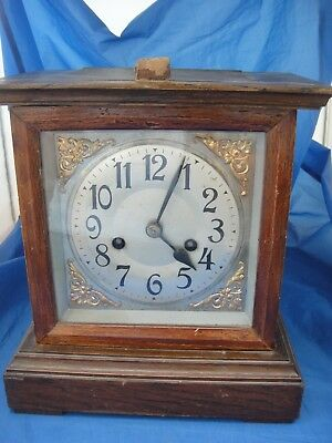 Vintage Wooden Cased Mantel Clock - CARL BADISCHE - In Need of Restoration