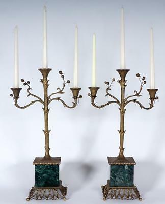 Pair of 3 light Brass & Marble Candelabra, Large & Beautiful, Art Nouveau style