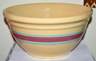 Huge! Vintage #12, Oven Ware, Usa Yellow Ware Striped Cookie Dough Mixing Bowl