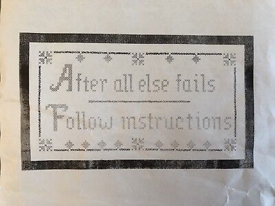 """Vintage Jane Snead Samplers Cross-Stitch Embroidery Kit """"Follow Instructions"""""""