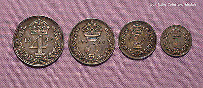1904 KING EDWARD VII MAUNDY SET COINS - Fourpence to One Penny