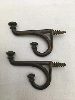"Lot of 2 Matching Decorative Hat, Clothes, Coat Hooks ""Knob"" Finials Cast Iron"