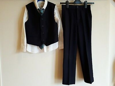 MONSOON Boys Navy 4 PC Piece Suit Set Age 9 years Bike logo tie great condition