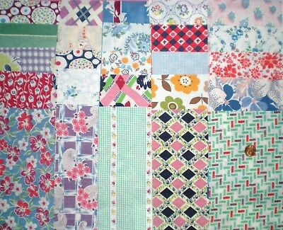 "LOT 25 Pcs Vtg FEEDSACK  Quilt Sewing DollClothes 5"" x 8"" ALL DIFFERENT Prints"