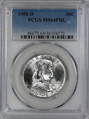 1958 D Franklin Half Dollar 50C Pcgs Certified Ms64Fbl Full Bell Lines Unc (172)