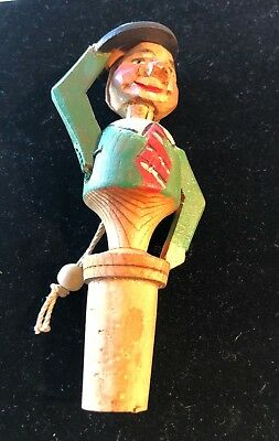 Vintage Wood Hand Carved Mechanical Bottle Cork Stoppe, Made in Germany or Italy
