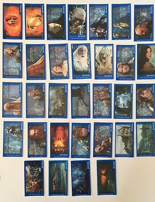 Set Of 32 Lord Of The Rings Bassetts Candy Sticks Trading Cards