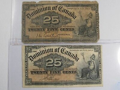 2 - 1900 Dominion of Canada 25 Cent Fractional Notes. 25¢.  #1
