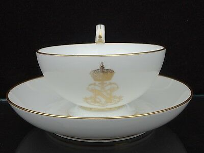 19Th C. Sevres France Napoleon Iii Armorial Large Breakfast Cup & Saucer ~ Rare