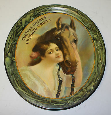 Curtis & Moore's Crushed Fruits Advertising Tin Tray – 1905 - Young Women and Ho