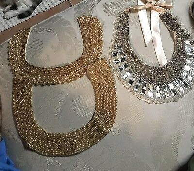 Lot Of 3 Vintage Beaded And Rhinestone Woman's Collars 1 Made In Japan